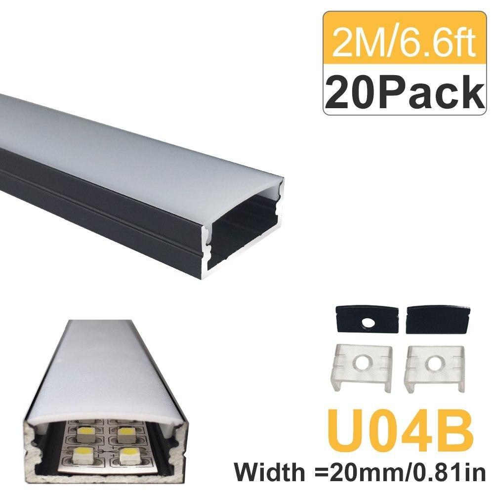 20-Pack 2M (6.6ft) Perfil de aluminio LED negro 20mm en forma de U - Iluminación LED