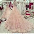 Elegant Pink Tulle Vestidos de Quinceañera Cariño Apliques de Encaje Dulce 16 Vestidos de Bola Del Vestido Dresse