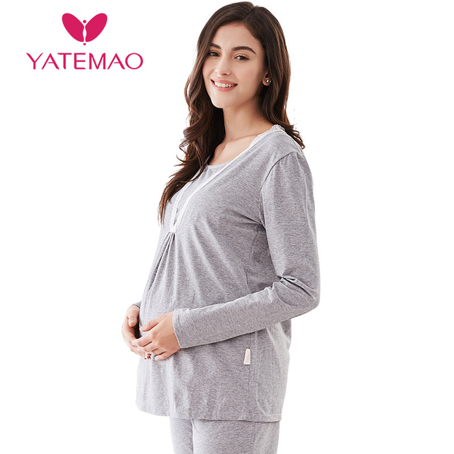4bd202ad50c97 YATEMAO Cotton Long Sleeve Nursing Clothes Winter Nursing Pajamas Pregnant  Pyjama Breastfeeding Pregnancy Gravidity Nightgrown