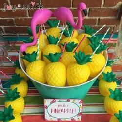 JOY-ENLIFE 6 pçs/lote Abacaxi Plástico Copo Bebendo de Coco Hawaii Luau Casamento Decoração Da Festa de Aniversário Do Partido Da Praia Do Verão