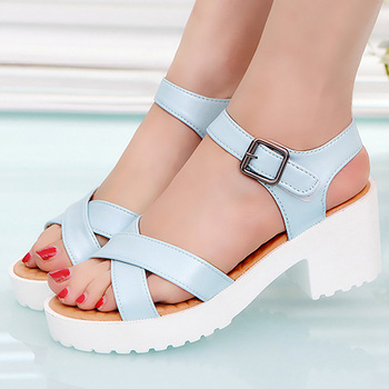 Women sandals Buckle Fashion Heels sandals woman Plus size 41/42/43/44/45 Sexy Womens sandals 2019 New Arrival 2