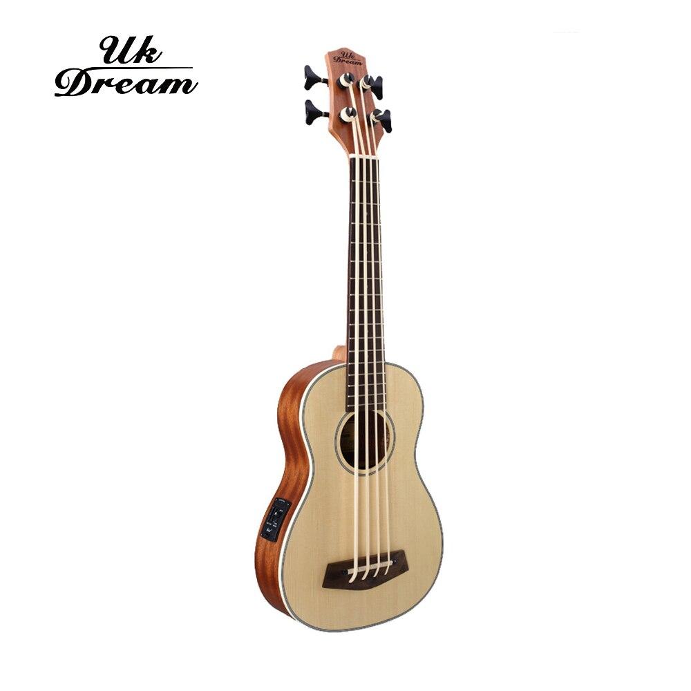 30 pouces guitare basse électrique en bois 4 cordes ukulélé Instruments de musique professionnel Picea Asperata U basse ukulélé UB-513