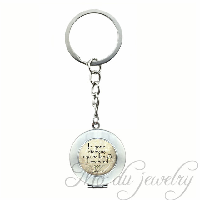 US $3 59 10% OFF|Christian Keychain Scripture Glass Pendant Faith Bible  Verse Key Chains Psalm 81:7 Spiritual Quote Black Inspirational Key Ring-in