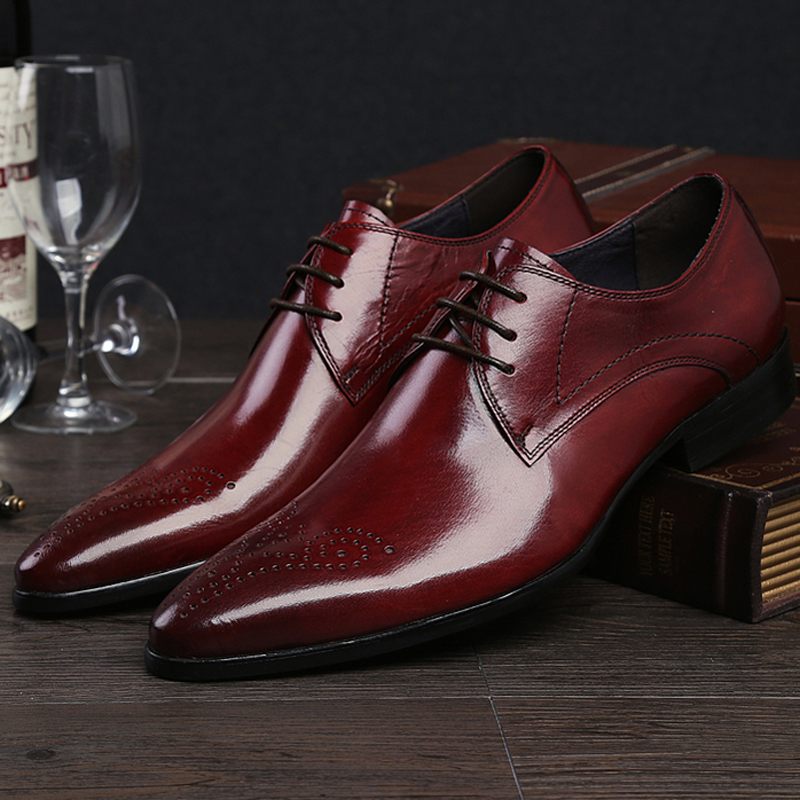 Hohe brown Schuhe Oxfords Hochzeit Qualität wein Herren Echtem Italienische Männlichen Lf80 Braut Leder Wohnungen rot Mann Kleid Schwarzes Formale Luxus Spitzen Marke rHr7qwY