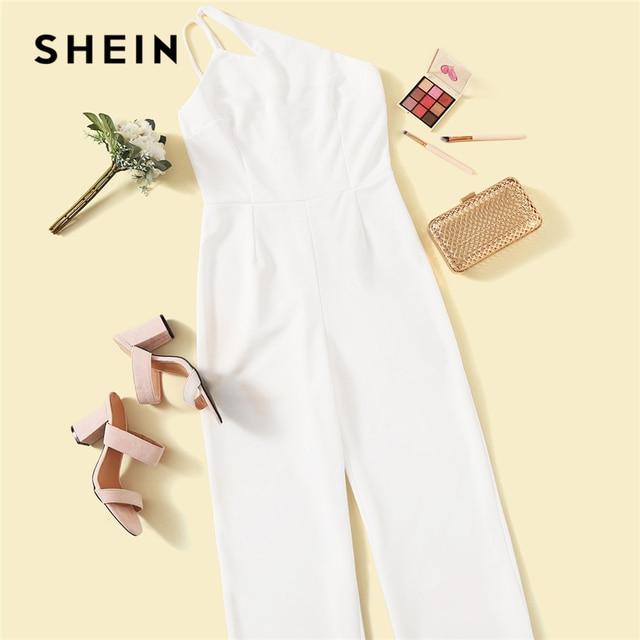 SHEIN Glamorous Double Strappy One Shoulder Wide Leg Jumpsuit Women Elegant White Jumpsuit Sleeveless High Waist Summer Jumpsuit 4