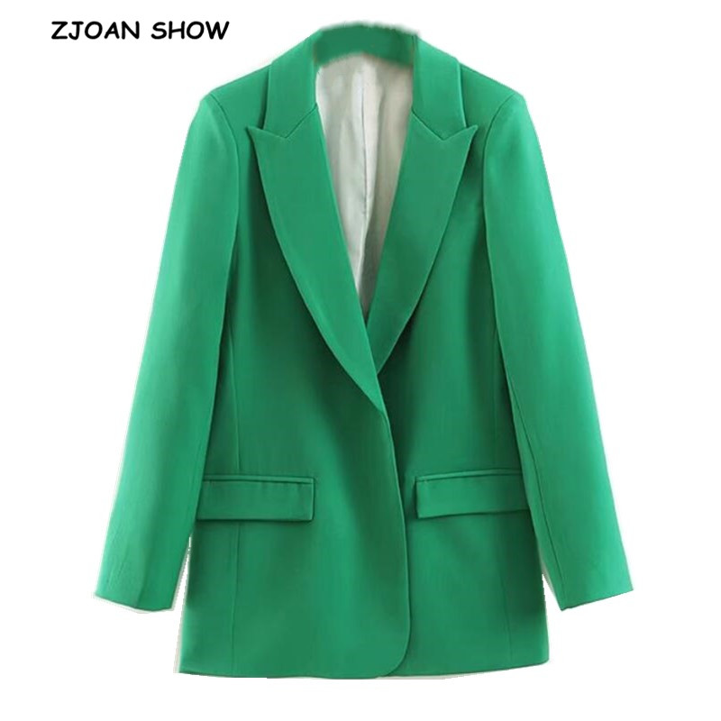 2019 Autumn Boyfriend Style No Button Green Blazer Women Notched Collar Pockets Loose Mid Long Suit Coat Fashion Femme