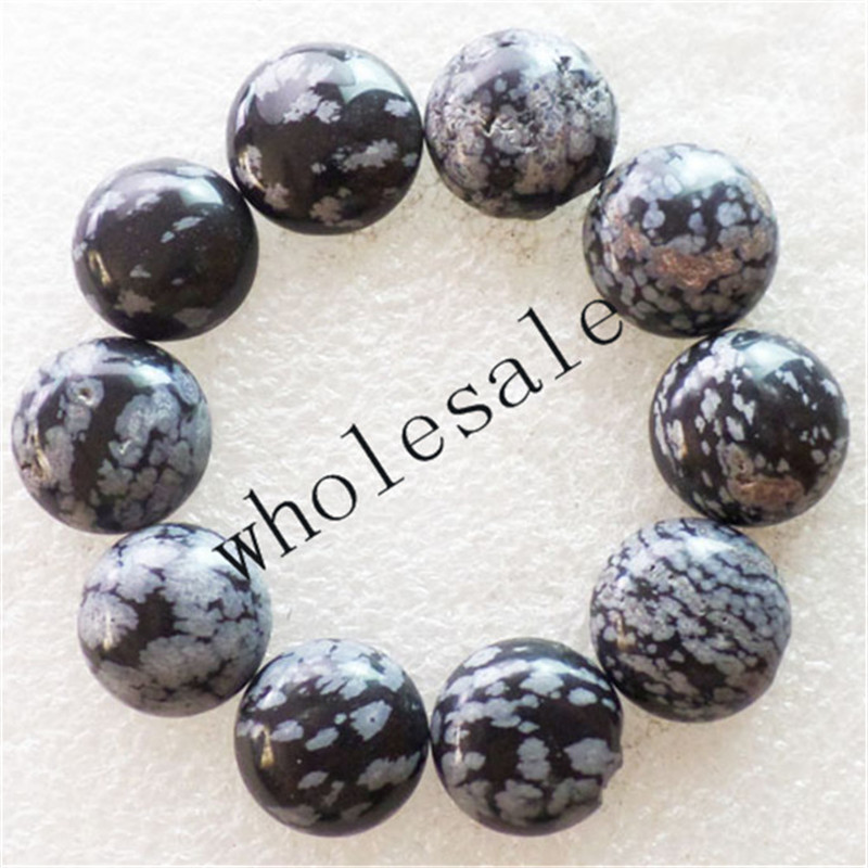 (12 pieces/lot) Wholesale Natural Snowflake Obsidian Round CAB CABOCHON 16mm Free Shipping Fashion Jewelry ZC0002
