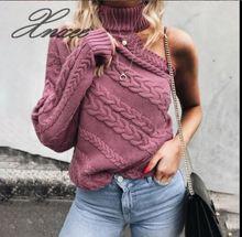 2019 Xnxee spring and autumn new style head slant shoulder single-sleeve twist high collar knit sweater female