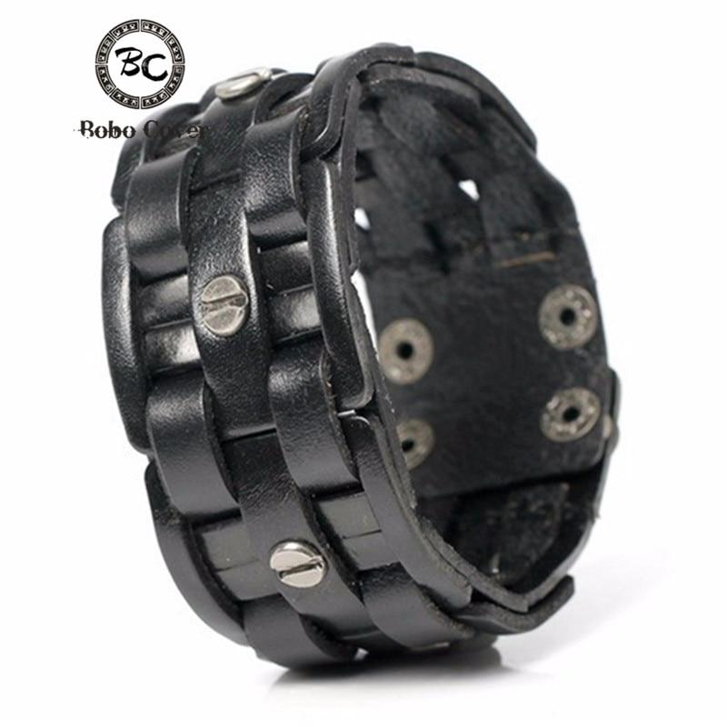 Bobo Cover 2017 Új Arrivel Kézzel szőtt kötszer Charm Férfi karkötők Népszerű Egyszerű Mozaik Wrap Fekete bőr karkötők