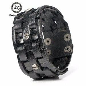 Bobo Cover 2017 New Arrivel Hand-woven Bandage Charm Men's Bracelets Popular Simple Mosaic Wrap Black Leather Bracelets