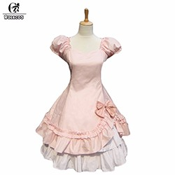 High-Quality-Women-Summer-Puff-Sleeve-Victorian-Period-Costumes-Gothic-Lolita-Dresses-for-Girl-Pink-Black