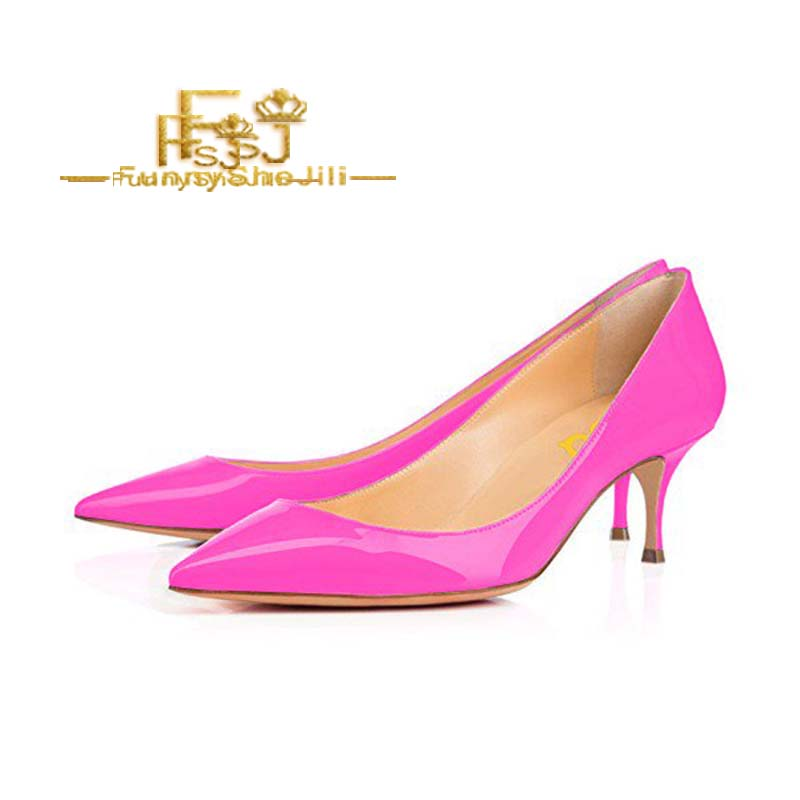 Woman Hot Pink High Heel Wedding Shoes Pointed Toe Satin