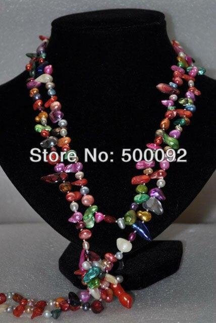 60 pulgadas estilo mezcla la longitud Multicolor de agua dulce collar de perlas