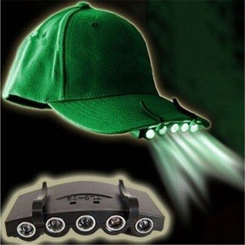 Outdoor Clip-On Head Light Head Lamp Cap 5 LED for Fishing Camping Hunting Hiking Tools Night Light Black