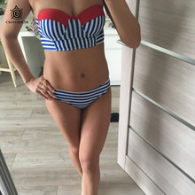 CXCYCOOLTH bikini 2018 hot sale swimwear two pieces separate bikinis set red patchwork swimsuit pushup tops striped bathing suit