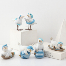 Europe Lovely Resin Seagull Sea Lions Tabletop crafts Water Park Originality  Animals figurine Childrens room decorations