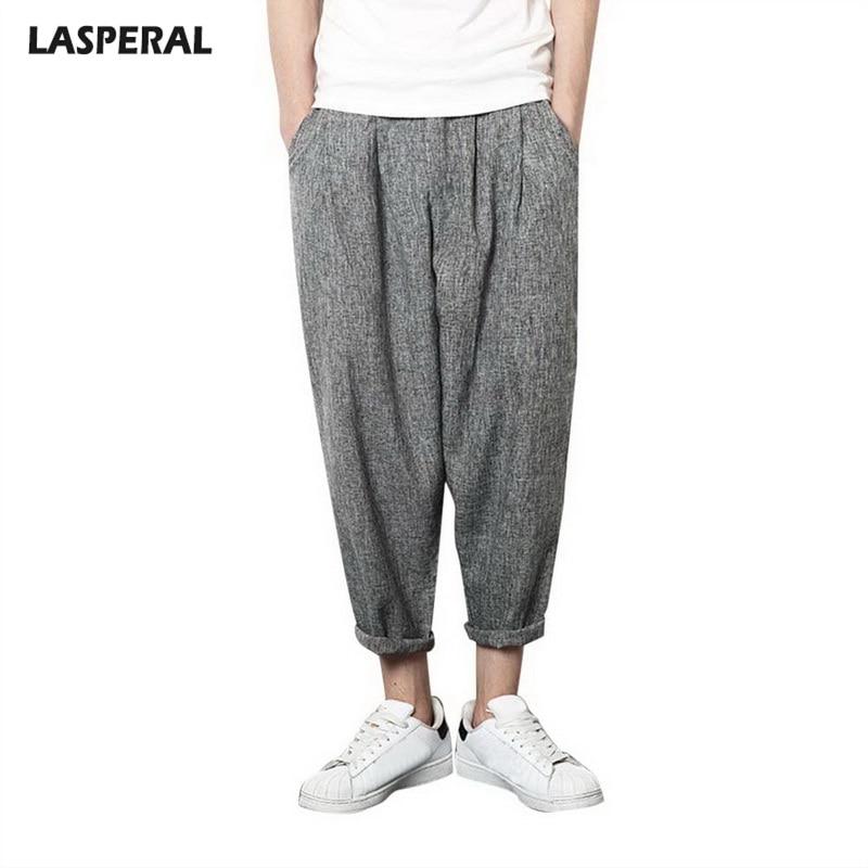 LASPERAL Solid Elastic Waist Thin Linen Trouser Male Pants Hip Hop Men Plus Size Loose Linen Sweatpants Summer Men Pants
