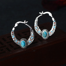 Wholesale Jewelry 925 Silver Earrings for Women Blue Stone Moonstone Bohemia Retro Vintage Indian