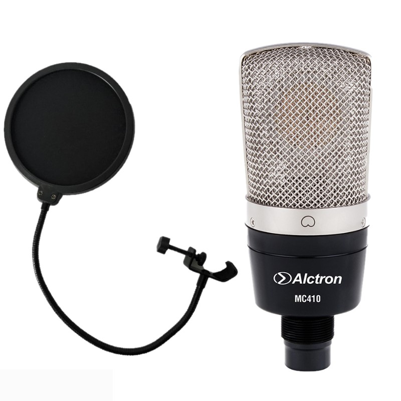 Alctron MC410 with POP Filter condenser microphone Cardioid large diaphragm recording microphone for recording