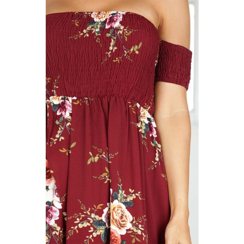 CALOFE Strapless Boho Print Dress Women Summer Sexy Off Shoulder Long Maxi Beach Dresses Sundress Plus Size Vestidos 5XL 3XL 4