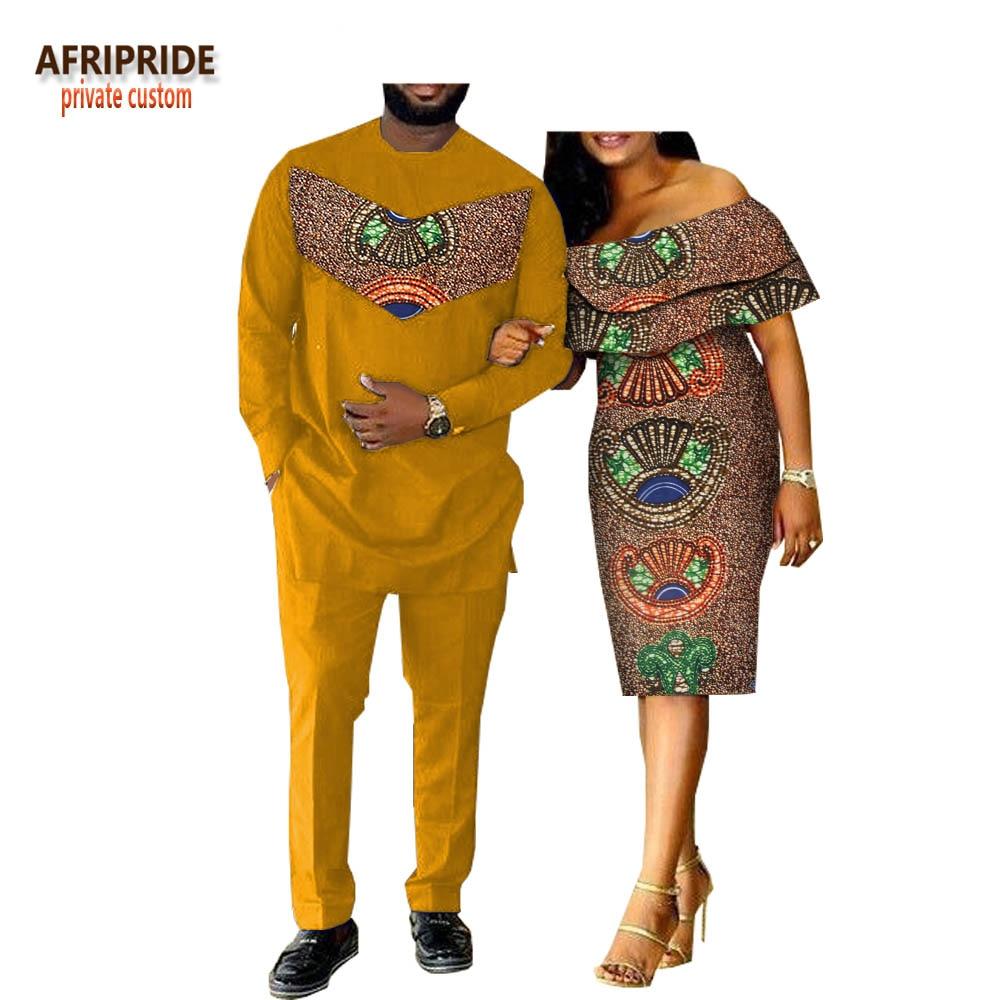 2018 printemps casual couple costume AFRIPRIDE hommes de pleine longueur longue chemise + pantalon et papillon manches genou-longueur femmes robe A18C001