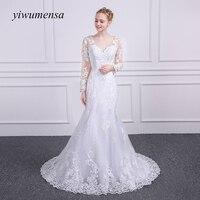 Yiwumensa Brand Design Robe De Mariage 2017 Sexy Mermaid Wedding Dress Lace Applique Country Western Wedding
