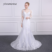 yiwumensa Brand Design robe de mariage 2017 Sexy Mermaid Wedding dress Lace Applique Country Western Wedding dresses Bridal Gown