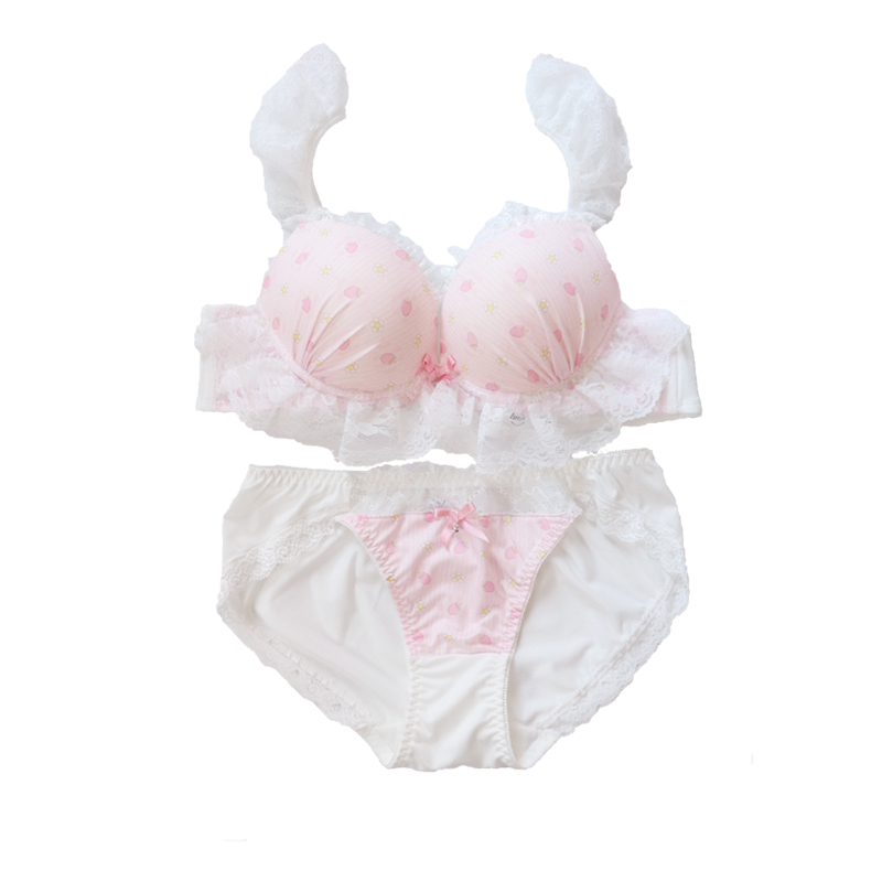 Japonais doux dessin animé fraise lait soie impression doux filles push up soutien-gorge et culotte ensemble sous-vêtements soutien gorge femme
