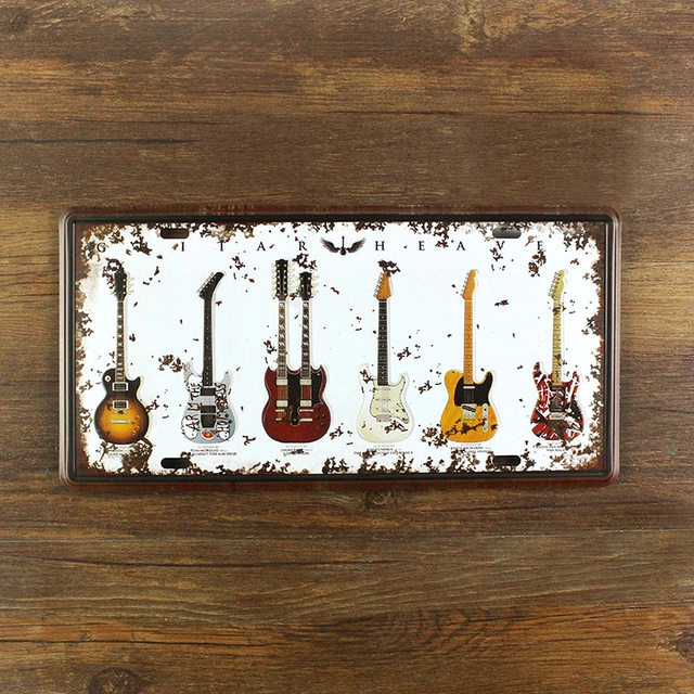 Vintage painting Music Guitar License plate metal Wall art Decor House Cafe Bar iron Doorplate decoration & Vintage painting Music Guitar License plate metal Wall art Decor ...