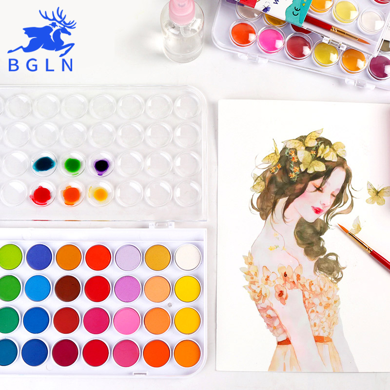 BGLN 12/16/24/28/36Colors Solid Watercolor Painting Set Bright Color Portable Watercolor Pigment Powder Set For Kids Students