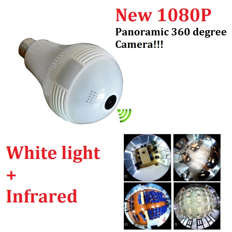 1080P Bulb Light Wireless IP Camera HD 2MP Mini Lamp Wifi P2P Camera Wi-FI FishEye 360 Degree Panoramic CCTV Home Security new hd 3mp led bulb light wireless camera fisheye panoramic wifi network ip home security camera system for ios android p2p