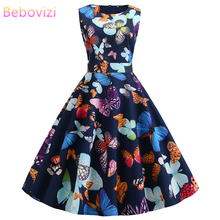 Bebovizi New Women Clothes 2019 Summer Black Casual Office Dresses Butterfly Print Elegant Vintage Party Plus Size Bandage Dress