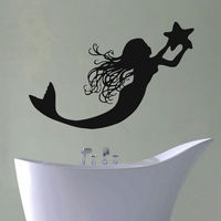WALL DECAL VINYL STICKER FANTASY GIRL MERMAID BATHROOM DECOR