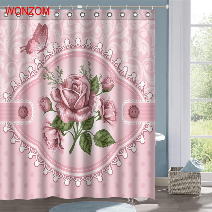 WONZOM Pink Rose Polyester Fabric Shower Curtain Flower Bathroom Decor Leaves Waterproof Cortina De Bano With 12 Hooks Gift 2017