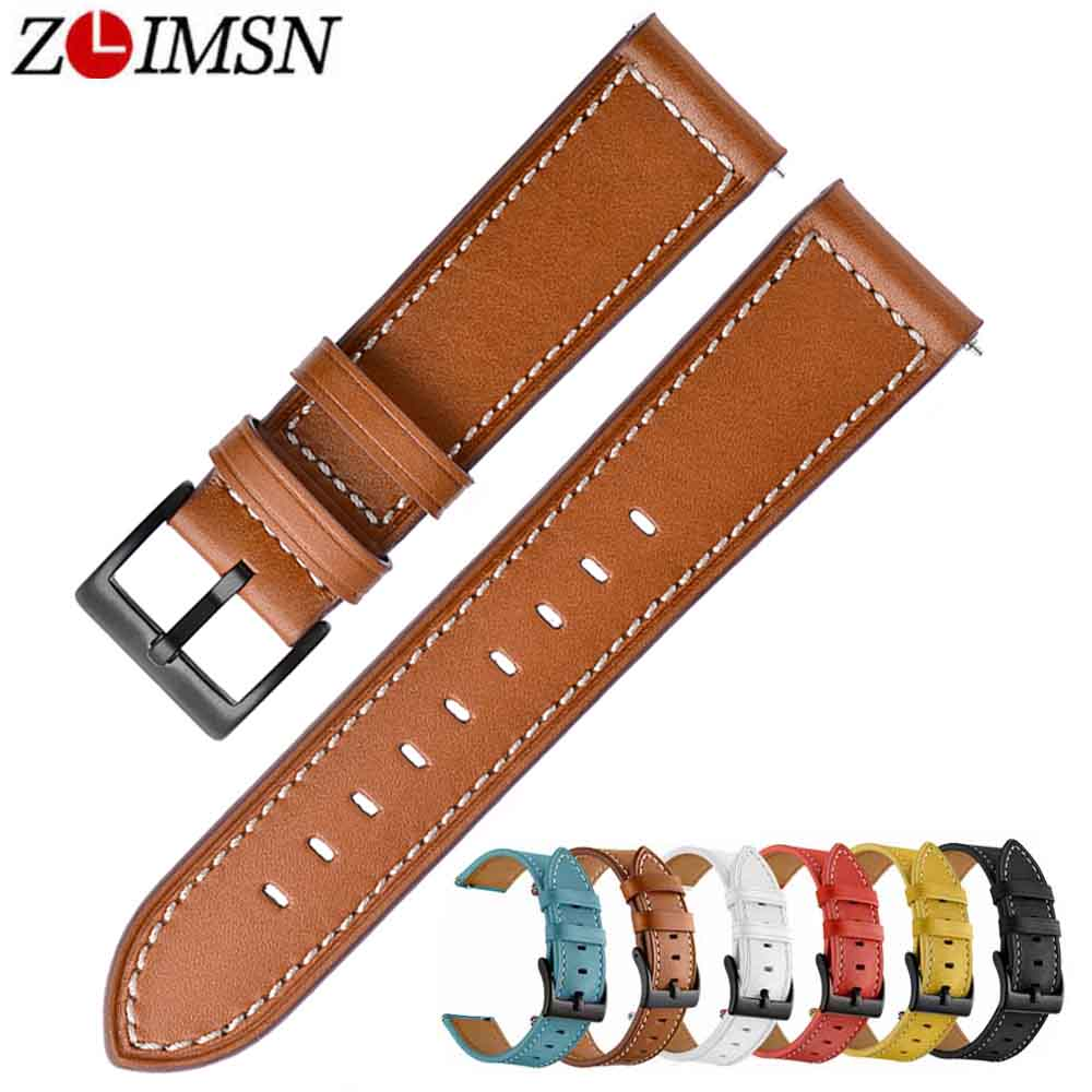 ZLIMSN New Business Leather Strap Black Brown 6 color Optional Mens and Womens Watch Strap 22mm for Universal Series Strap
