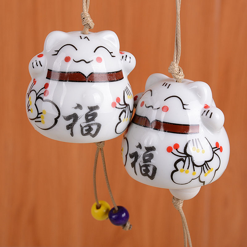 Keramiske Windchimes Lucky Cat Pendant Wind Chimes Car Ornament Hængende Miniature Home Decoration Figur Keramiske Wind Chimes