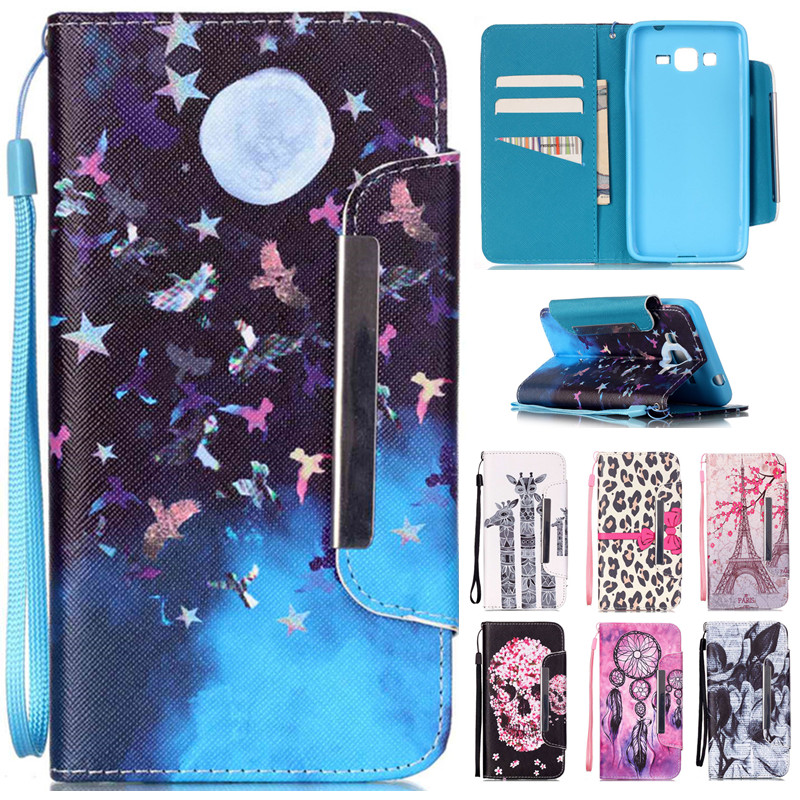 For Samsung Galaxy G360 G530 I9060 i9082 J5 A3 2016 Note5 Phone Cases Stand Flip Wallet Cover Leather Paiting Soft Cartoon Case