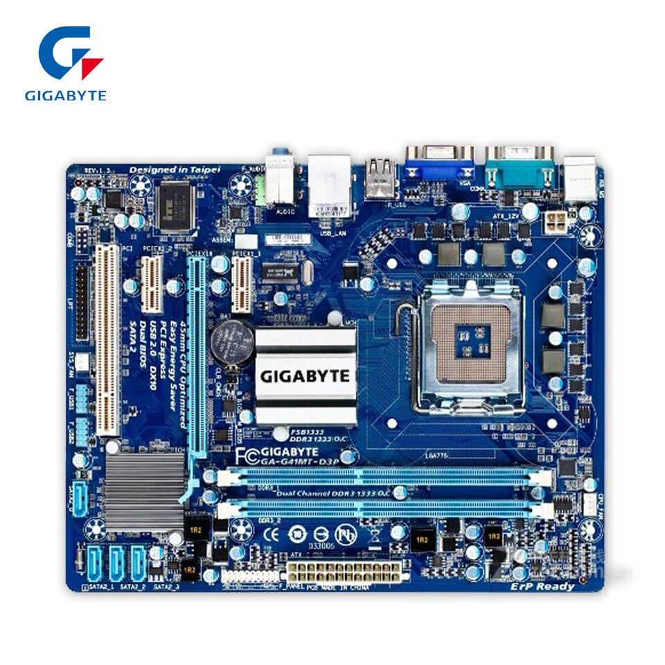 Gigabyte GA-G41MT-D3P Original Used Desktop Motherboard G41MT-D3P  G41 LGA 775  DDR3 8G SATA2 USB2.0 Micro-ATX original motherboard ga g41mt s2 lga 775 ddr3 g41mt s2 8gb fully integrated g41 free shipping