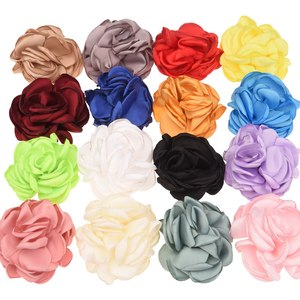 20PCS Satin Flowers Burning Flowers Boutique Hair Accessories Fashion Flower Accessory DIY Headwrap No Hairclip For Hairband(China)