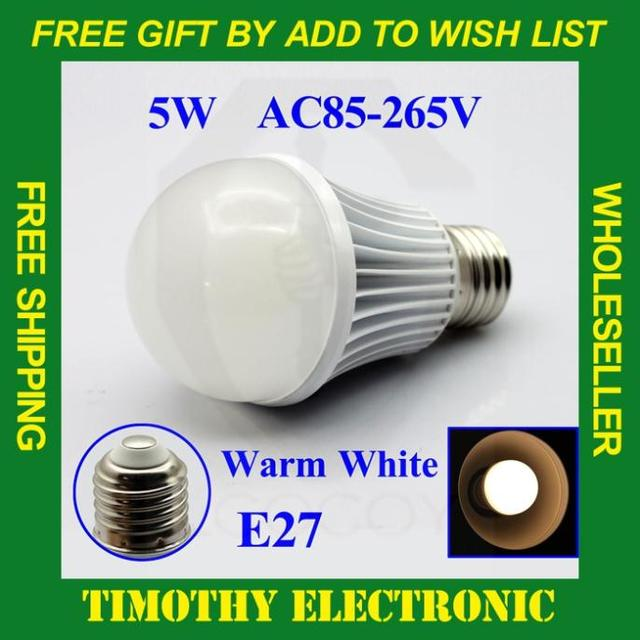 Hot! FREE SHIPPING  E27 5W 450LM AC85V-265V WARM WHITE Bubble Ball LED Light Lamp Bulbs Lighting Energy Saving glass cover 1PC