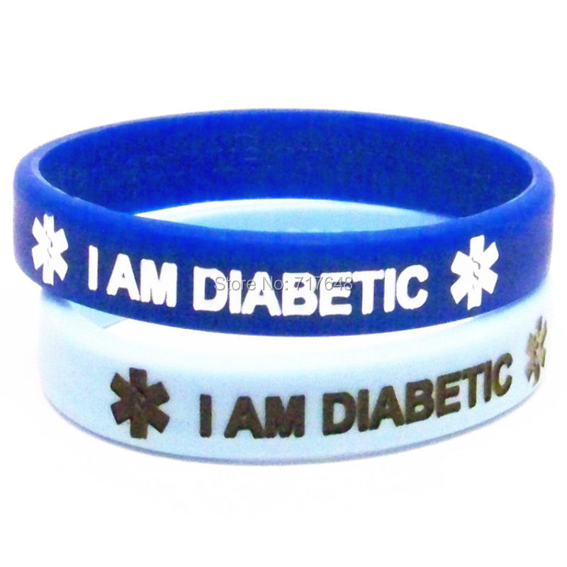 300pcs I Am Diabetic Wristband Silicone Bracelets Rubber Cuff Wrist Bands Bangle Free Shipping By Fedex In From Jewelry Accessories On