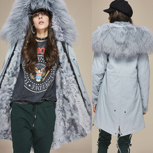Jott 2017 New Fashion Women's Real Lamb Fur lined Parka Midi Mongolia Sheep Fur Hooded Coat Warm Outwear Winter Christmas Jacket