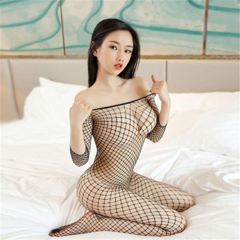 2019 Ladies Sexy Fashion Socks Fishnet Sock Netwear Siameses Large Mesh Long Sleeve Siamese Perspective Sweet Pantyhose Women