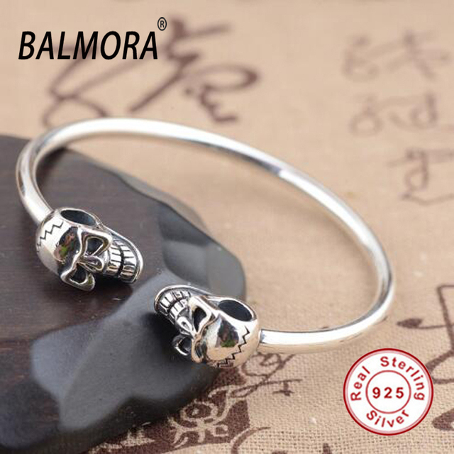 New Hot!100% Real 925 Sterling Silver Jewelry Skull Open Bangles Bracelets for Women Men Party Gifts Bijoux High Quality SY50193