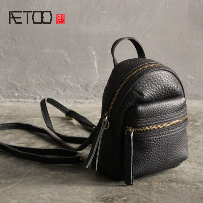 AETOO 2017 new mini leather shoulder bag female Korean version of the wild fashion first layer of leather personalized mini mini new korean version of the first layer of leather pillow bag large lychee pattern handbag shoulder messenger fashion leather leat