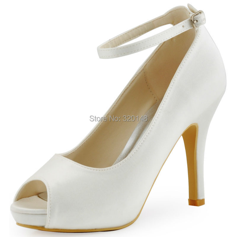 ФОТО Fashion Woman Shoes HP1543I  White Ivory Peep Toe Pumps Women Wedding Shoes Ankle Strap High Heels Satin Bridal Shoes