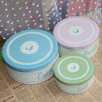 3 in 1 set Circle packing carton sundries set cookies biscuits storage tin cake sweet sugar , tea, coffee tin ,
