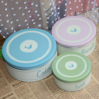 3 In 1 Set Circle Packing Carton Sundries Set Cookies Biscuits Storage Tin Cake Sweet Sugar