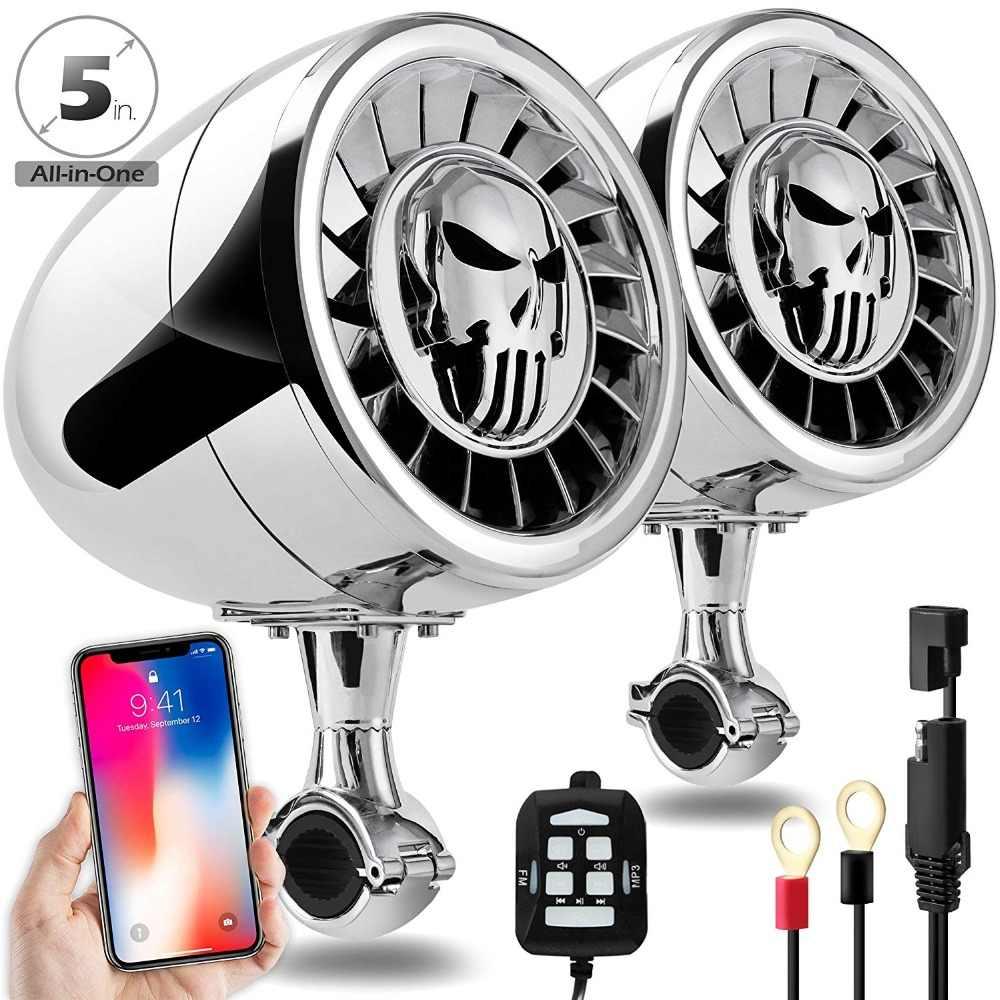 Aileap Kinerja Tinggi 5 Inci Tahan Air ATV/UTV/Harley Motor Bluetooth Speaker Bass Berat Perahu Sistem Audio AUX MP3
