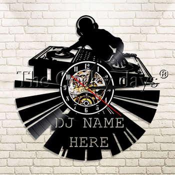 1 peça Fones De Ouvido DJ Disco de Vinil Relógio de Parede Criativa 12